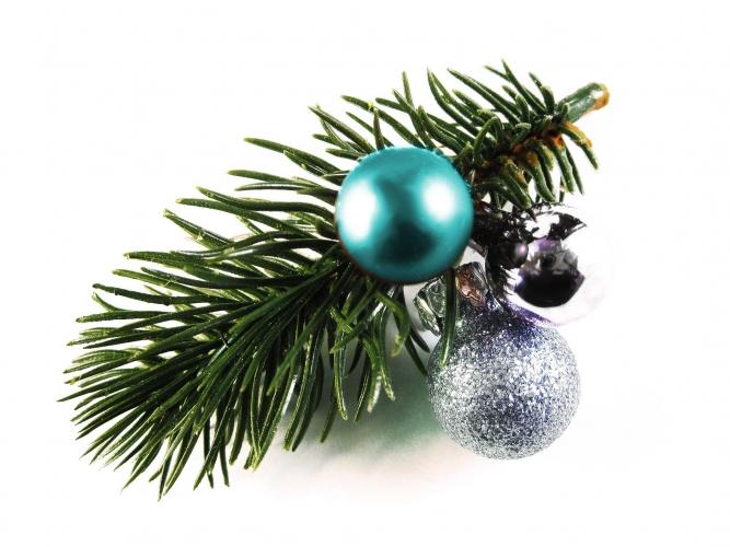 Haarspange Weihnachten mit Tannenzweig und blauer Kugel Haarschmuck