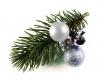 Haarspange Weihnachten mit Tannenzweig und silberfarbenen Kugeln - Weihnachten Haarschmuck