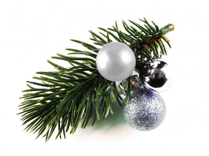 Haarspange Weihnachten mit Tannenzweig und silberfarbenen Kugeln - Haarschmuck