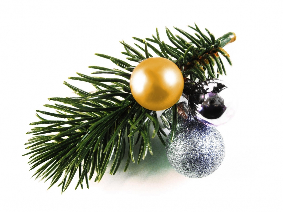 Haarspange Weihnachten mit Tannenzweig und gold- und silberfarbenen Kugeln - Weihnachten Haarschmuck