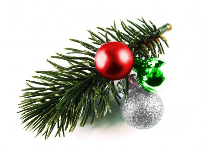 Rot grüne Haarspange Weihnachten mit Tannenzweig und Kugeln - Haarschmuck