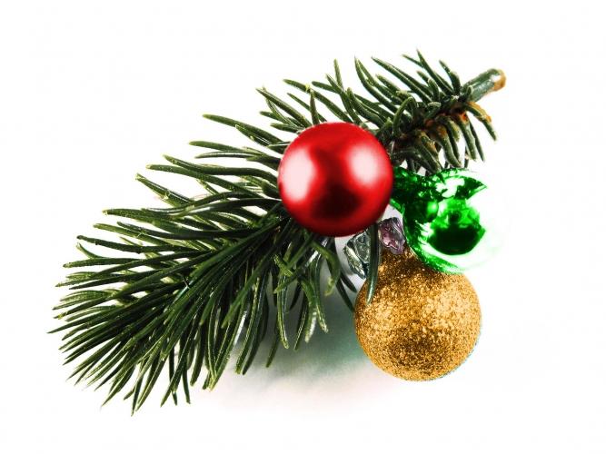 Rot gold, grüne Haarspange Weihnachten mit Tannenzweig und Kugeln - Weihnachten Haarschmuck