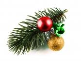 Rot gold, grüne Haarspange Weihnachten mit Tannenzweig und Kugeln - Haarschmuck