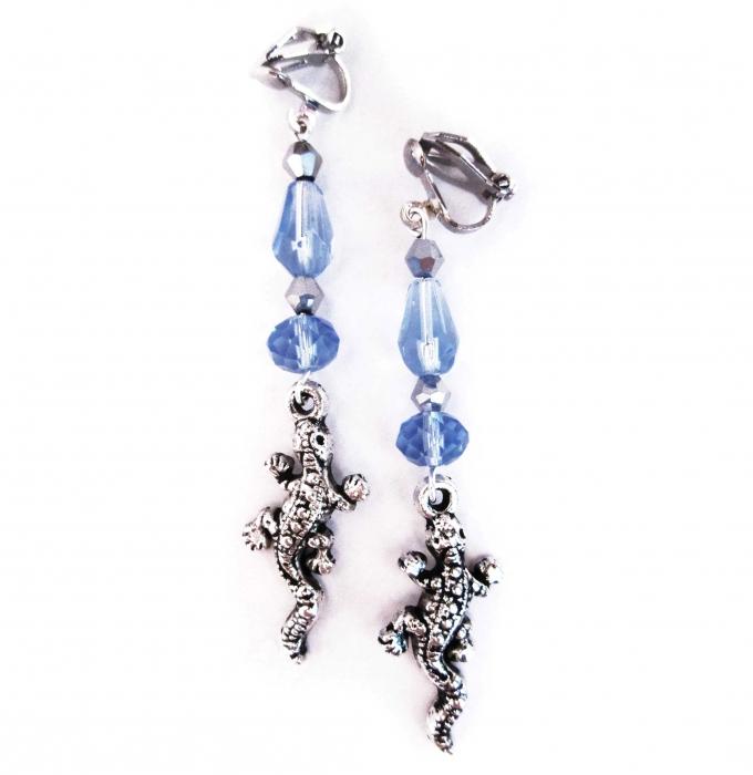 Ohrclips Blaue Eidechse Ohrhänger blau und silberfarben