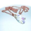 Irisierender Glastropfen an rosegoldfarbener 80cm Gliederkette - Lange Kette mit Glasanhänger