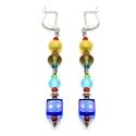 Blau bunte Ohrhänger mit Glas- und Metallperlen mit Edelstahlohrhaken - bunter Glasschmuck
