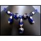 Kobaltblau-silbernes kurzes Collier aus Kristallglas