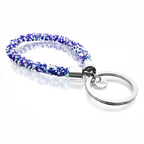Blauer glitzer Schlaufen Schlüsselanhänger mit Edelstahl