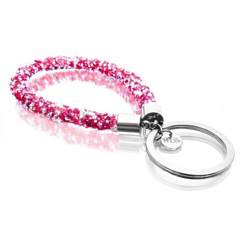 Pink glitzer Schlaufen Schlüsselanhänger mit Edelstahl