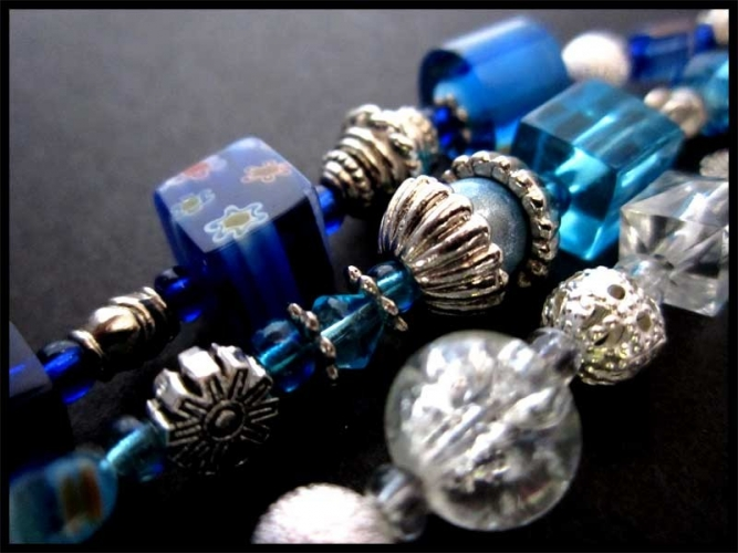 Comet Schlüsselanhänger in Blautönen mit Glöckchen UNIKAT