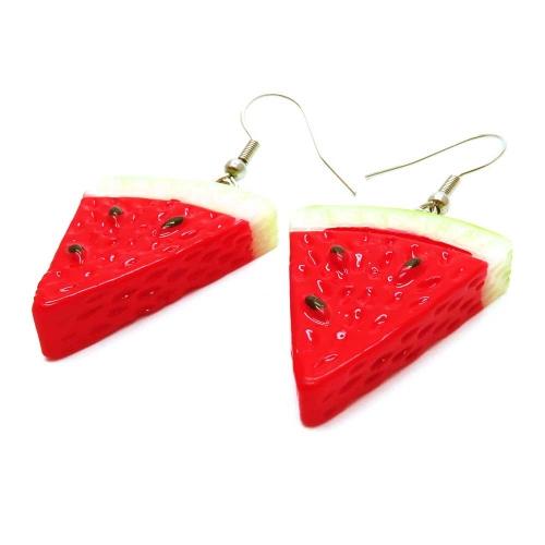 Rot grüne Wassermelonen Stücke Ohrringe - bunter Sommerschmuck