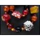 Rotes Armband mit Millefioriglas und Tibetsilber UNIKAT