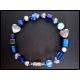 Armreif in Trachten Optik in blau mit Millefioriglas und Silberfarben UNIKAT