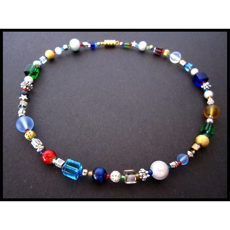 Bunte Halskette aus Glasperlen und Tibetsilber UNIKAT