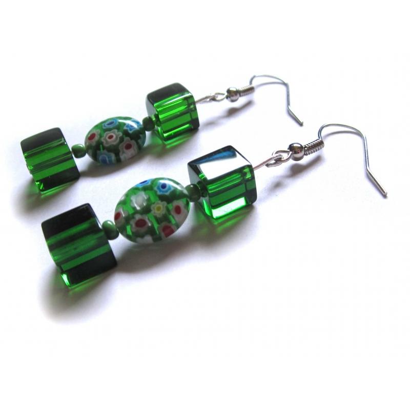 Grüne Ohrringe aus Kristallglas und Millefiori Perlen