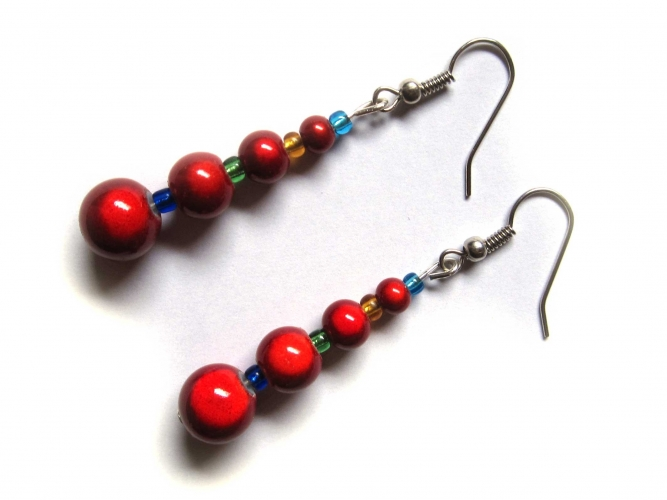 Ohrringe rote irisiernde Glasperlen bunte Perlen