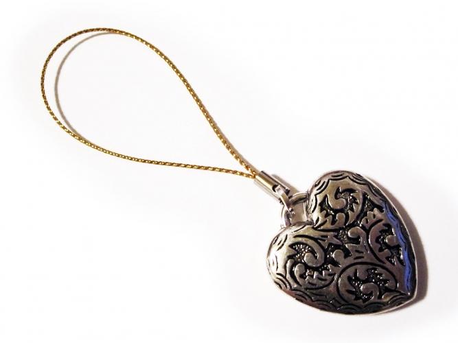 Handyanhänger Silberfarbenes Herz 2 an Goldband