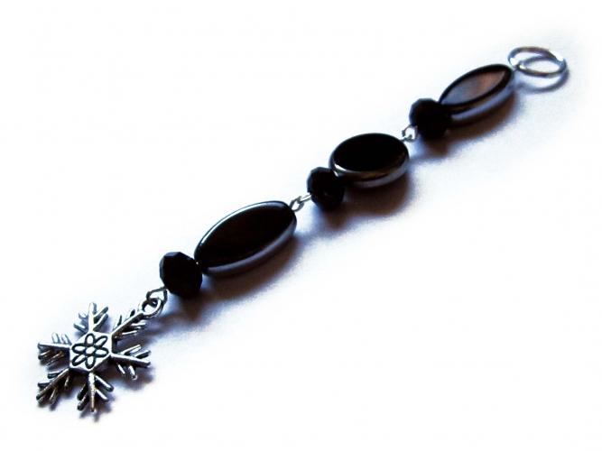 Schwarzer Weihnachtsanhänger Schneeflocke 1 - Weihnachtsdeko Anhänger