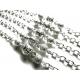 Silberfarbene Brillenkette mit Metall und Kristallglasperlen