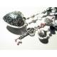 Schlüsselanhänger grosses Silberherz rosa lila weiss schwarz