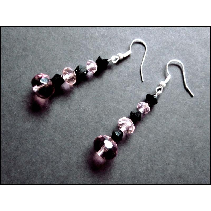 Rosa schwarz Ohrringe aus geschliffenem Kristallglas UNIKAT