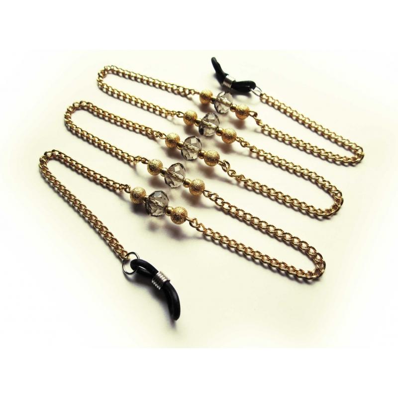 Goldfarbene Brillenkette mit Metallperlen und Kristallglas