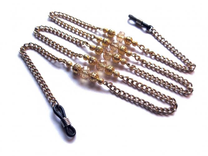 Goldfarbene Brillenkette mit Metallperlen und Kristallglas UNIKAT