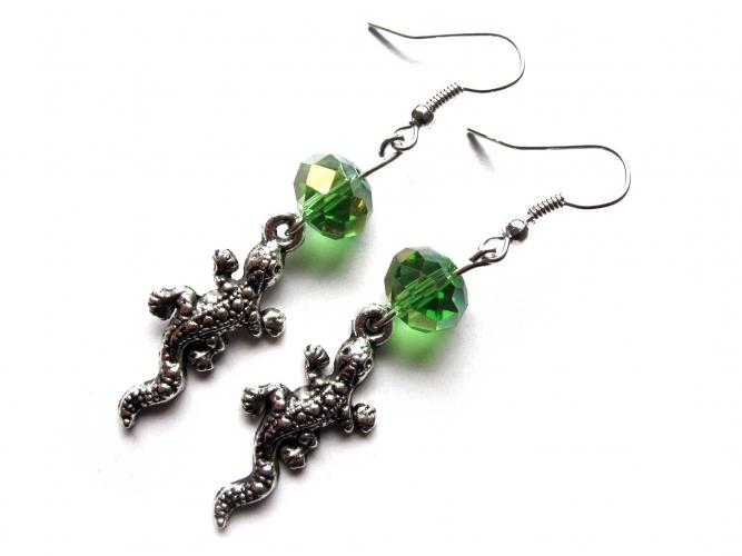 Ohrringe Smaragdeidechse smaragdgrün und silberfarben