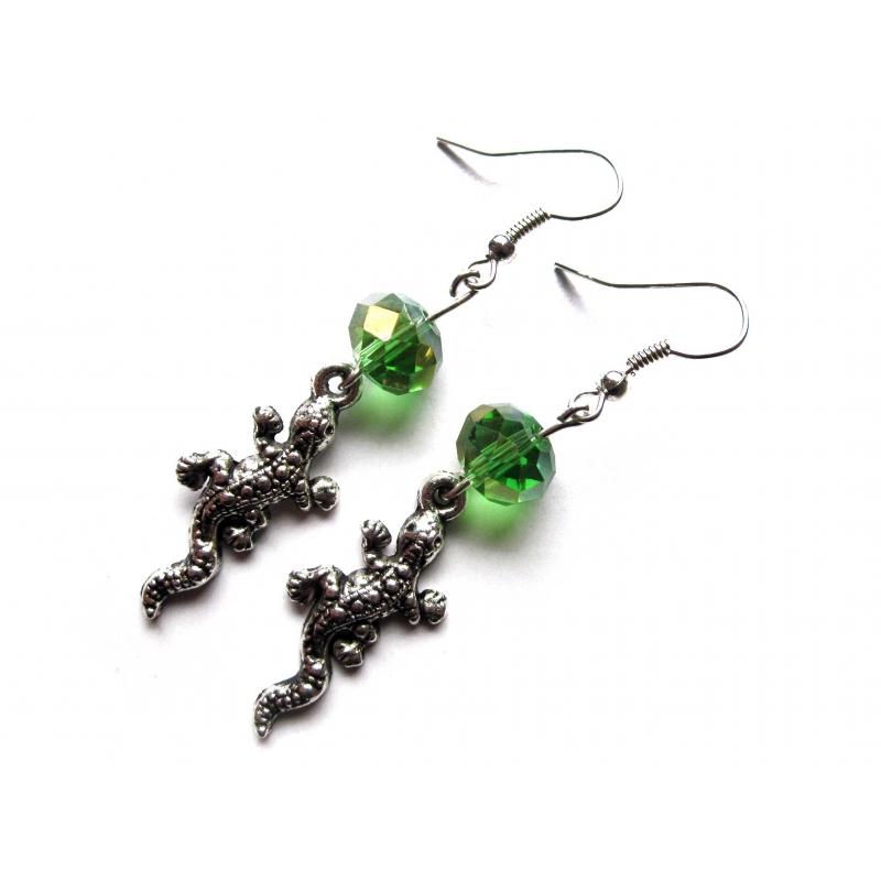 Ohrringe Smaragdeidechse smaragdgrün silberfarben