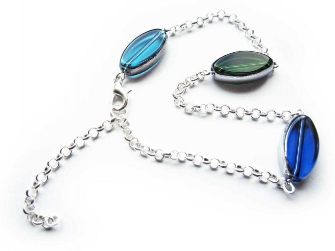 Türkis blau grünes Fusskettchen Glas mit silberfarben Rahmen