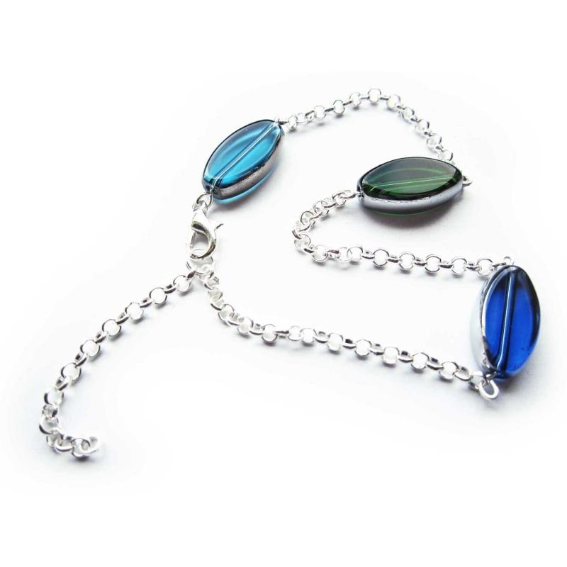 Türkis blau grünes Fusskettchen Kristallglas silberfarbener Rahmen