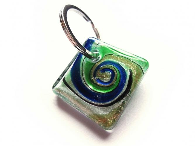 Glas Schlüsselanhänger 'Bunter Strudel Grün' mit goldfarben und silberfarben Muranostil 1