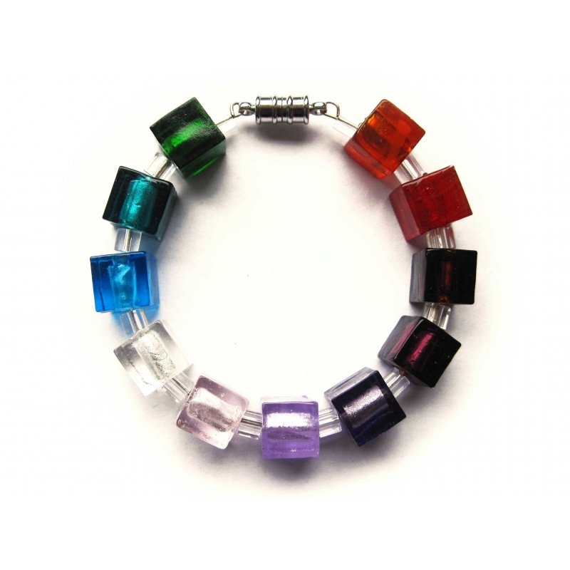 Regenbogen Armreif aus Glaswürfeln UNIKAT