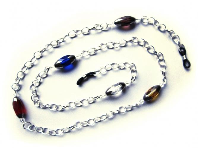 Silberfarbene Brillenkette mit bunten Glasperlen von maxmuc