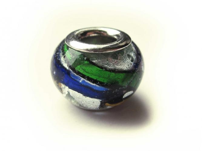 European Bead Glas italian Style silberfarben blau grün orange