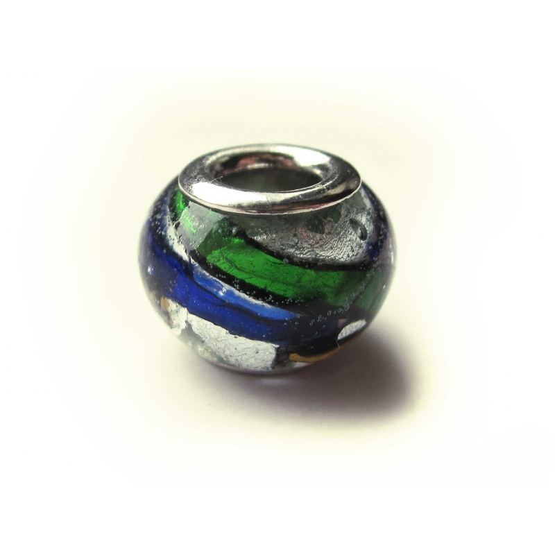 European Bead Glas italian Style silber blau grün orange