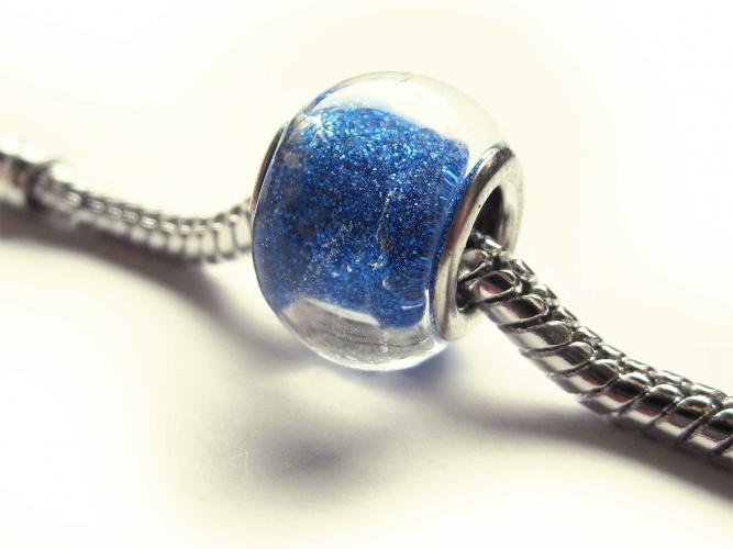 European Bead Glas glitzerndes Blau