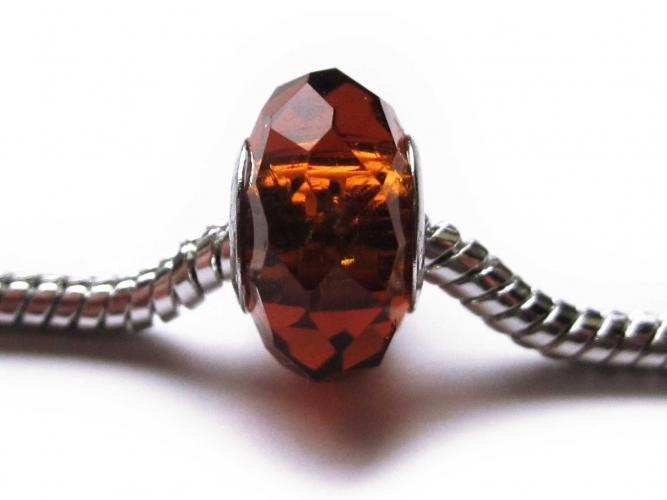 European Bead geschliffener Glasrondelle bernsteinfarben braun