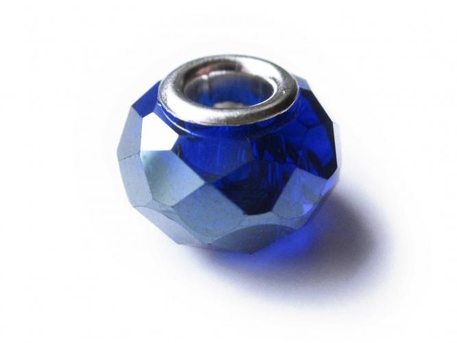 European Bead geschliffener Glasrondelle kobaltblau mit Glanz-Effekt