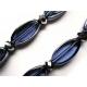 Blaue lange Ohrringe Ohrclips aus Kristallglas 1
