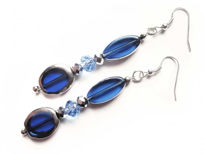 Blaue Ohrhänger lange Ohrringe aus Glas - Glasschmuck