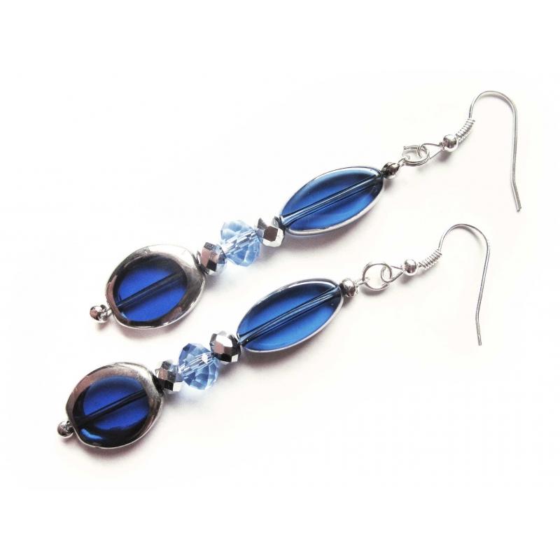 Blaue Ohrhänger lange Ohrringe aus Kristallglas - Glasschmuck