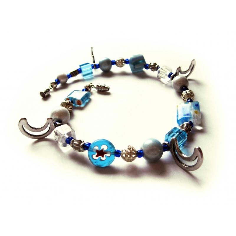 Blau türkis Fusskettchen mit Millefioriperlen und Silbermonden UNIKAT