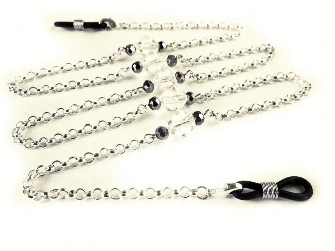 Silberfarbene Brillenkette mit transparenten Doppelkegel Glasperlen von maxmuc
