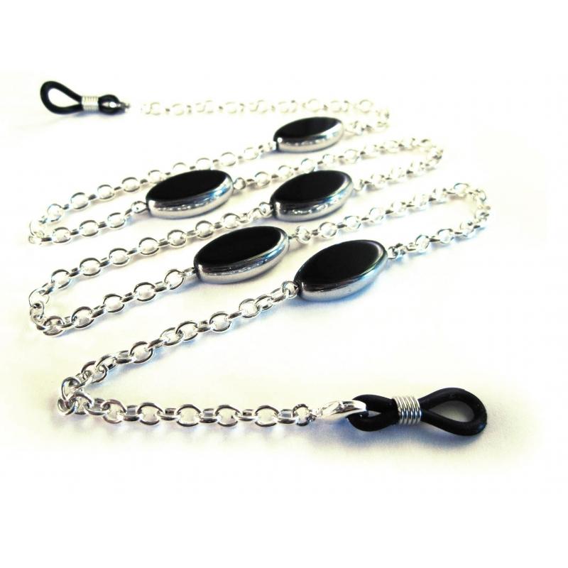 Silberfarbene Brillenkette mit schwarzen ovalen Kristallglasperlen