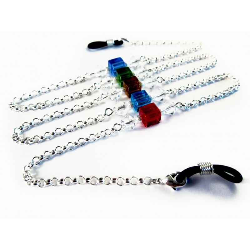 Silberfarbene Brillenkette mit bunten Kristallglaswürfeln