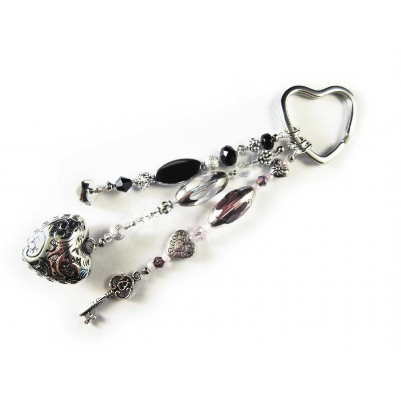 Schlüsselanhänger Sternenschweif rosa lila weiss schwarz Silber Herz Schlüssel Glöckchen
