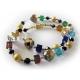 Bunte Glas Halskette mit Kristallglas und goldenen Metallkugeln