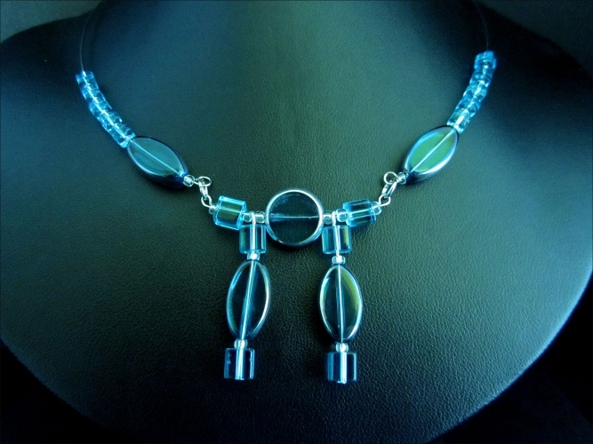 Türkises Glas Collier mit Ohrringen Türkis silberfarbenes Schmuckset