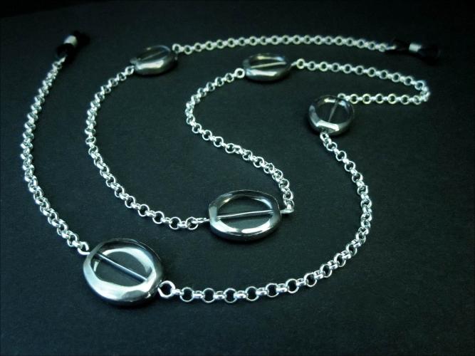Silber Brillenkette mit ovalen Kristallglasperlen mit Silberrahmen